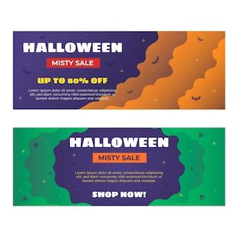 Conjunto de banners de venta horizontal de halloween degradado
