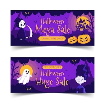 Conjunto de banners de venta horizontal de halloween plano dibujado a mano