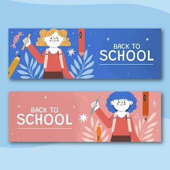 Conjunto de banners de venta horizontal de regreso a la escuela dibujados a mano