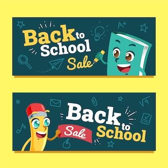 Conjunto de banners de venta horizontal de regreso a la escuela de dibujos animados