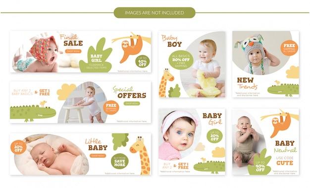Conjunto de banners de venta de lindos animales bebé