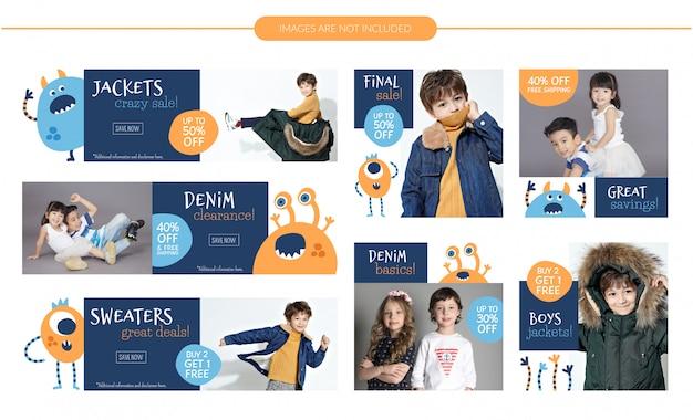 Conjunto de banners de venta de moda infantil.