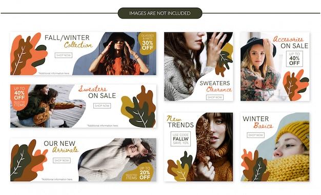 Conjunto de banners de venta de moda otoño / invierno