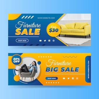 Conjunto de banners de venta de muebles degradados.