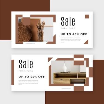 Conjunto de banners de venta de muebles con fotos.