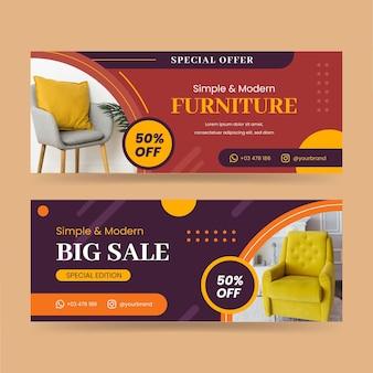 Conjunto de banners de venta de muebles planos.