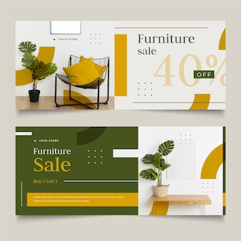 Conjunto de banners de venta de muebles.