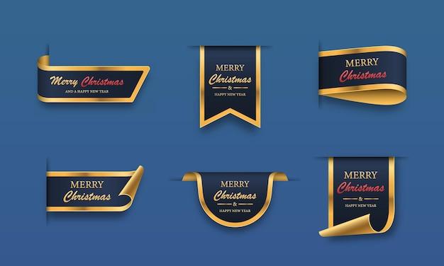 Conjunto de banners de venta de navidad bluegolden feliz navidad y feliz año nuevo etiquetas