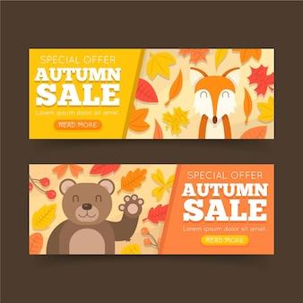 Conjunto de banners de venta otoño diseño plano