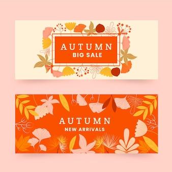 Conjunto de banners de venta de otoño horizontal