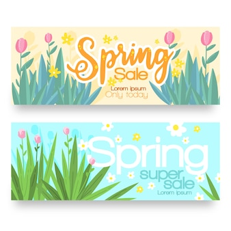 Conjunto de banners de venta primavera dibujado a mano