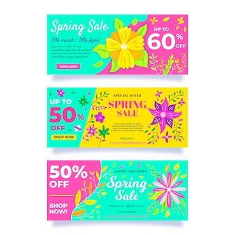 Conjunto de banners de venta de primavera de diseño plano