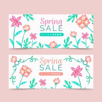 Conjunto de banners de venta de primavera
