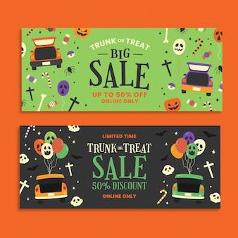 Conjunto de banners de venta de regalo o baúl plano dibujado a mano