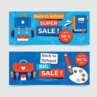 Conjunto de banners de venta de regreso a la escuela.
