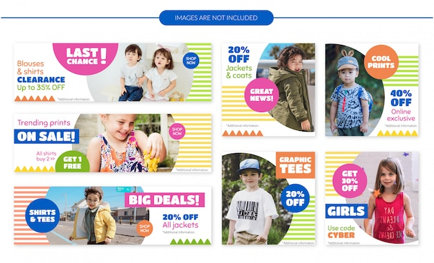 Conjunto de banners de venta de ropa infantil.