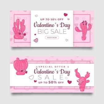 Conjunto de banners de venta de san valentín rosa dibujado a mano