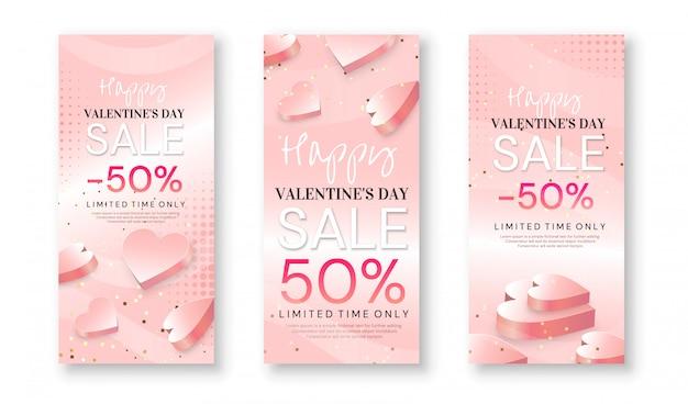 Conjunto de banners de venta de san valentín