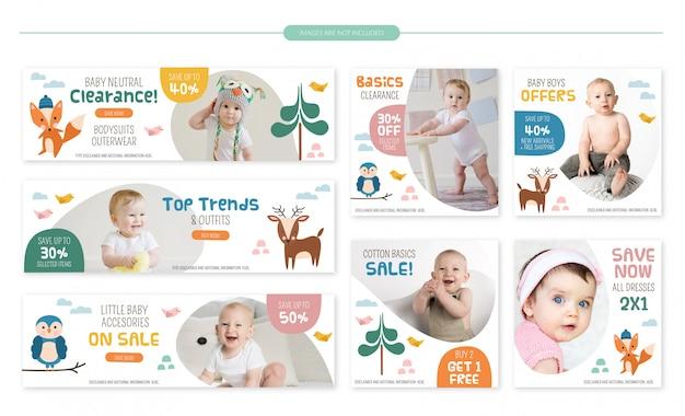 Conjunto de banners de venta de tienda de bebé - lindos animales del bosque