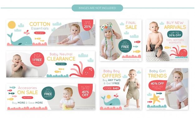 Conjunto de banners de venta de tienda de bebé