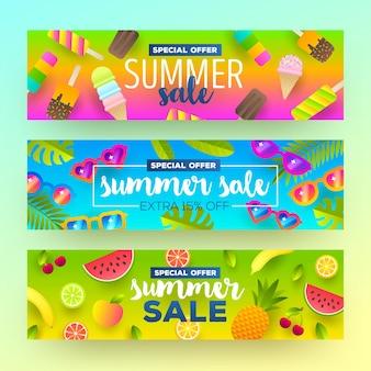 Conjunto de banners de venta de verano vacaciones de vacaciones y antecedentes de viajes