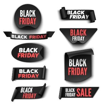 Conjunto de banners de venta de viernes negro. cintas y pegatinas.