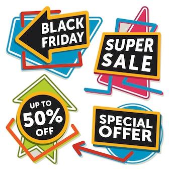 Conjunto de banners de venta de viernes negro. ilustración vectorial