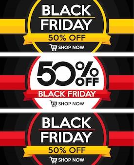 Conjunto de banners de venta de viernes negro