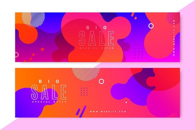 Conjunto de banners de ventas abstractos degradados