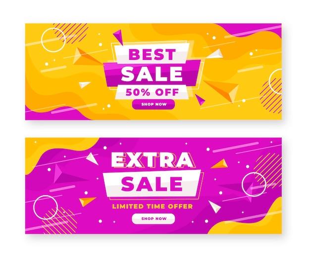Conjunto de banners de ventas abstractos planos