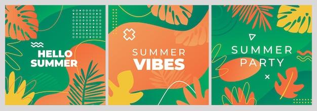 Conjunto de banners de ventas de redes sociales. estilo memphis con elementos florales. ilustración vectorial.