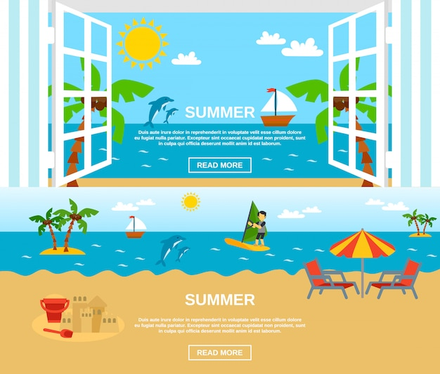 Conjunto de banners de verano y playa