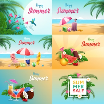 Conjunto de banners de verano relax