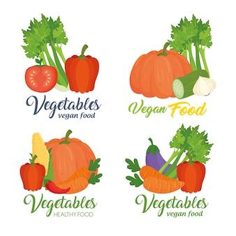 Conjunto de banners con verduras, concepto de comida sana
