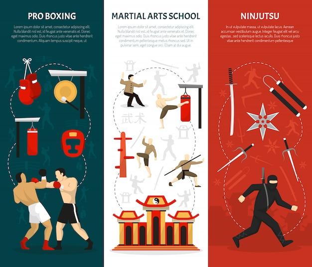 Conjunto de banners verticales de artes marciales