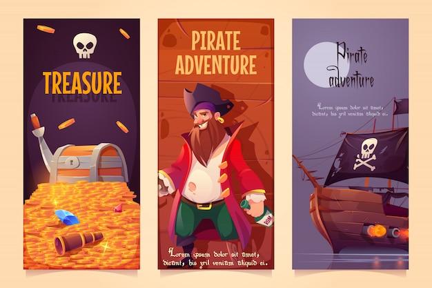 Conjunto de banners verticales de aventura pirata