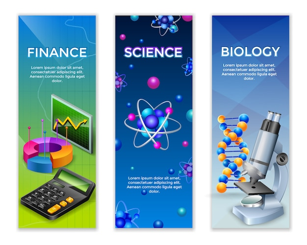 Conjunto de banners verticales de ciencia