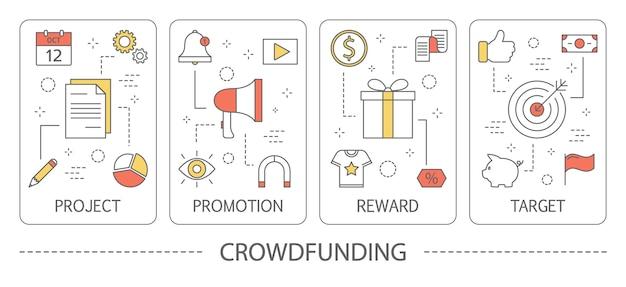 Conjunto de banners verticales de crowdfunding.