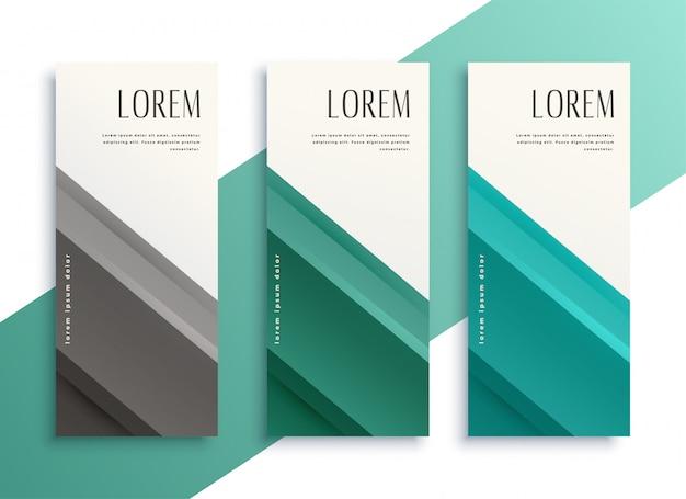 Conjunto de banners verticales de estilo empresarial geométrica