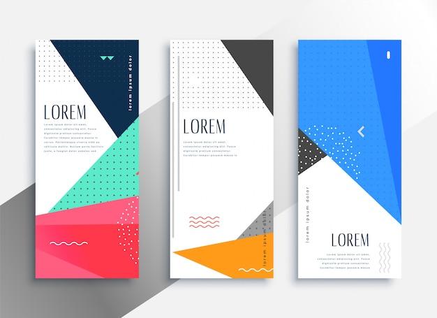 Conjunto de banners verticales de estilo memphis