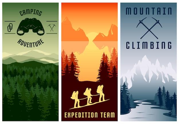 Conjunto de banners verticales de expediciones de montaña