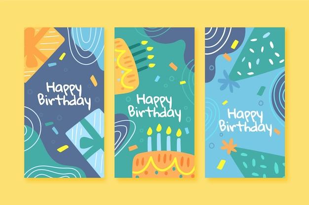 Conjunto de banners verticales de feliz cumpleaños
