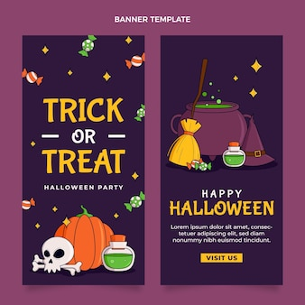 Conjunto de banners verticales de halloween dibujados a mano