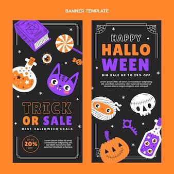 Conjunto de banners verticales de halloween planos dibujados a mano