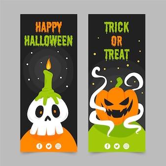 Conjunto de banners verticales de halloween
