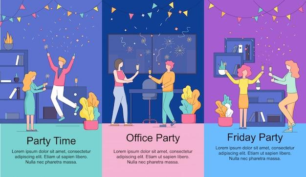 Conjunto de banners verticales. hora de la fiesta de la oficina del viernes.