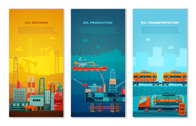 Conjunto de banners verticales de la industria del petróleo.