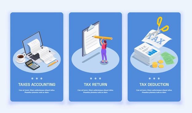 Conjunto de banners verticales isométricos de contabilidad de impuestos.
