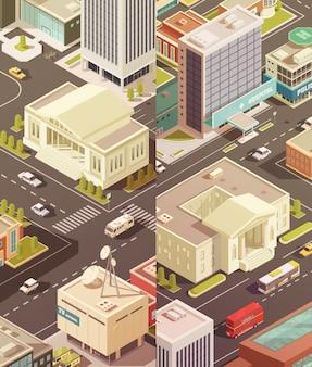 Conjunto de banners verticales isométricos de edificios gubernamentales