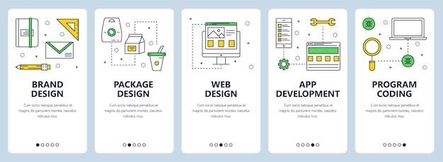 Conjunto de banners verticales con marca, diseño de paquetes, diseño web, desarrollo de aplicaciones, plantillas de sitios web de concepto de codificación de programas. diseño moderno de estilo plano de línea fina.